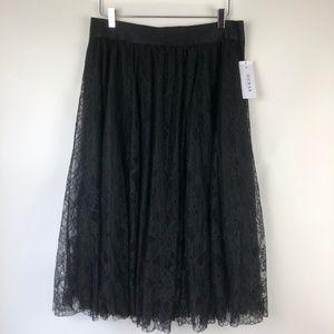 GUESS XL Lace Maxi Skirt Stretch Waistband Black